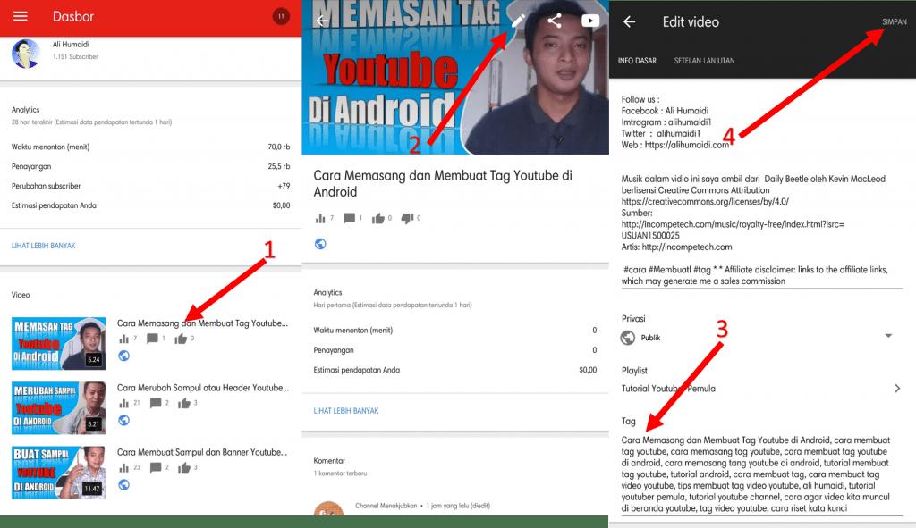 Cara Membuat dan Memasang Tag Youtube
