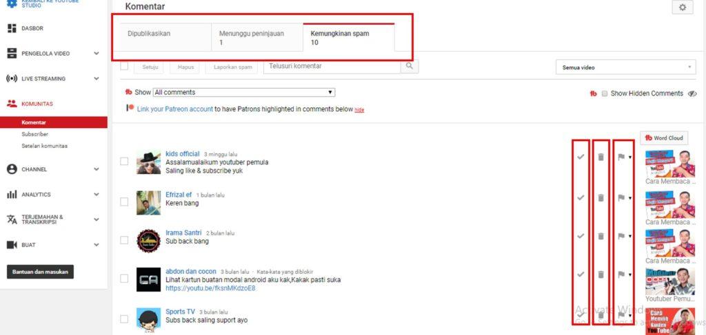 Cara Melihat dan Memblokir Komentar Spam di Youtube