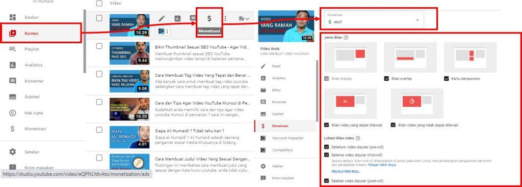 Mengaktifkan iklan youTube di masing-masing video
