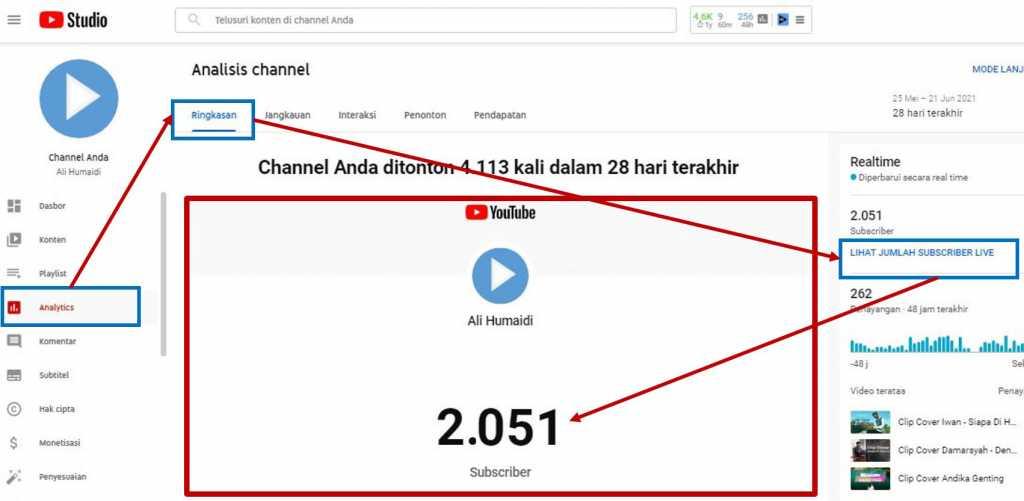 cara meliah live subscriber